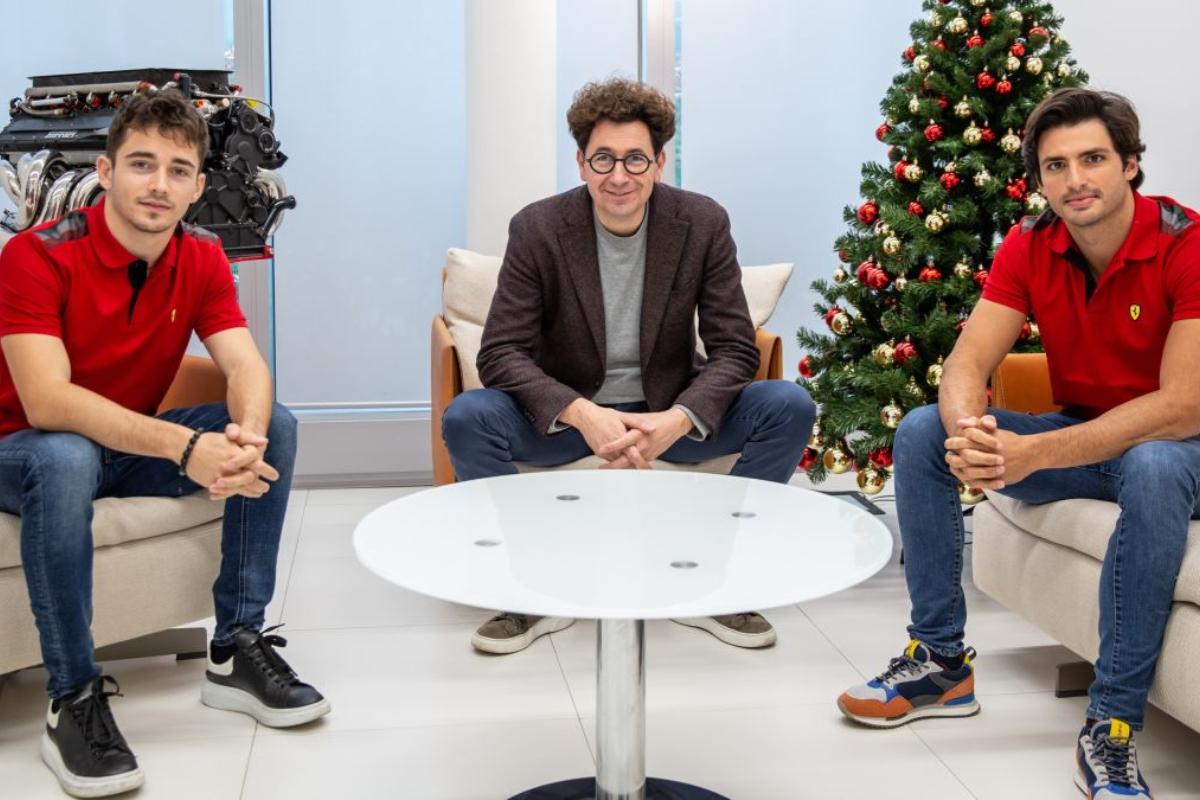 Charles Leclerc, Mattia Binotto e Carlos Sainz Jr. (As.com)
