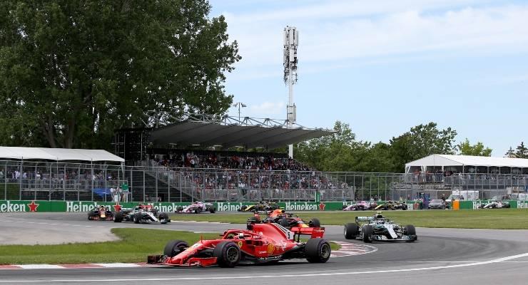 Una fase di gara del Gran Premio del Canada di Formula 1 2019 a Montreal