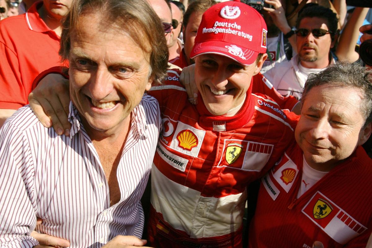 Luca Cordero di Montezemolo, Michael Schumacher e Jean Todt (Getty Images)