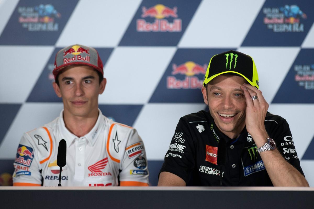 Marc Marquez e Valentino Rossi in conferenza stampa (Getty Images)