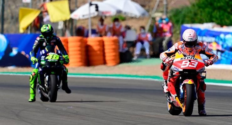 Valentino Rossi e Marc Marquez in pista