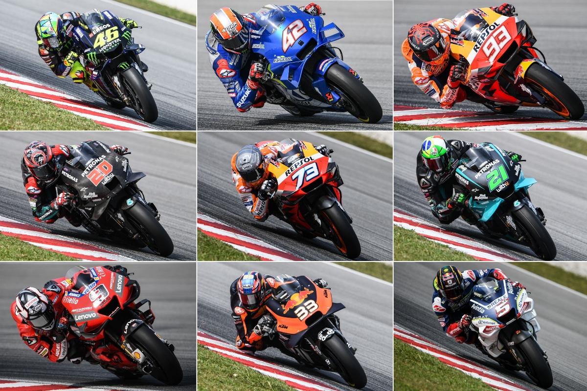 Valentino Rossi, Rins, Marc Marquez, Quartararo, Alex Marquez, Morbidelli, Petrucci, Binder e Zarco (Getty Images)
