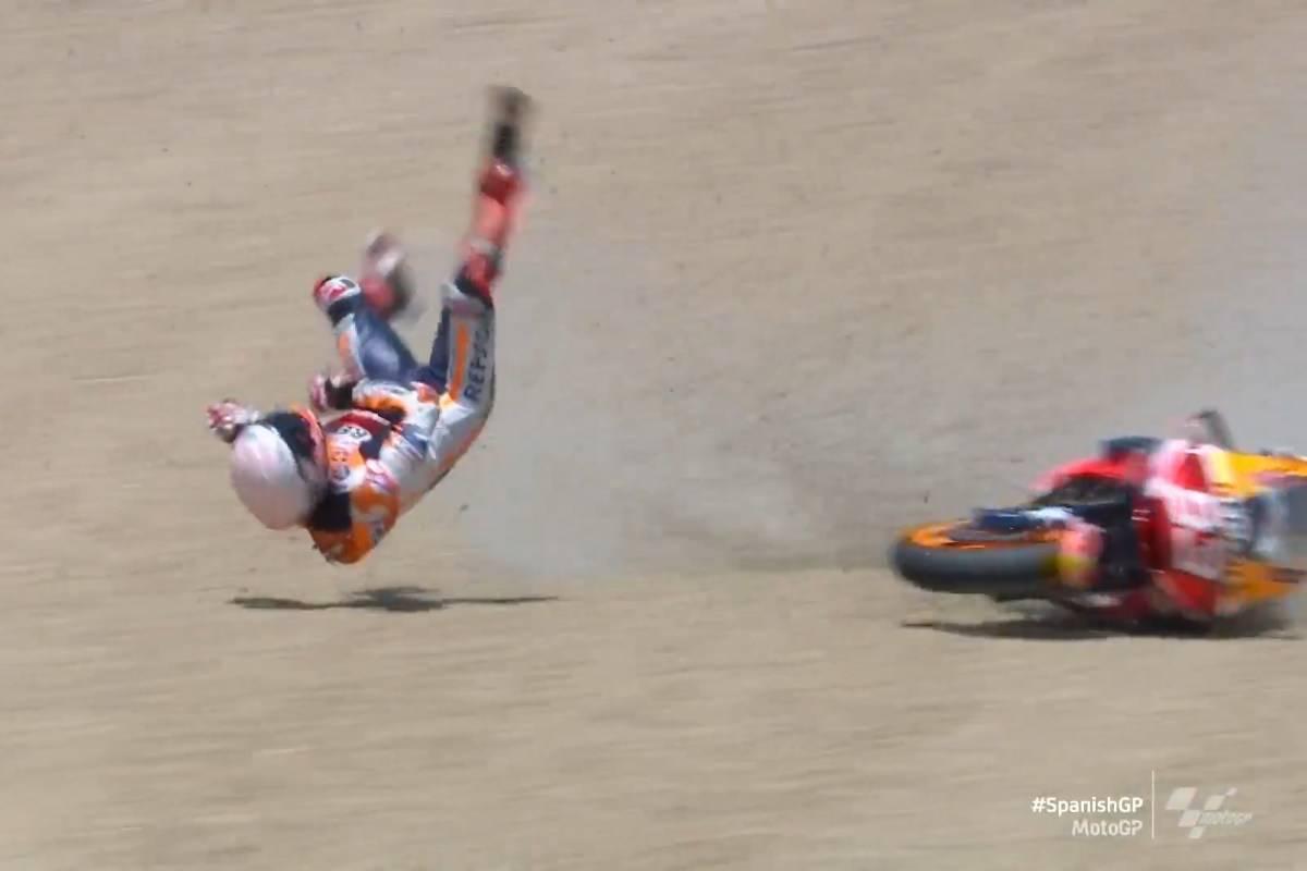 La caduta di Marc Marquez a Jerez
