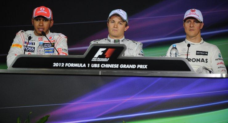 Lewis Hamilton, Nico Rosberg e Michael Schumacher