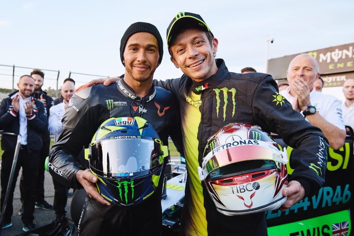 Lewis Hamilton e Valentino Rossi (Getty Images)