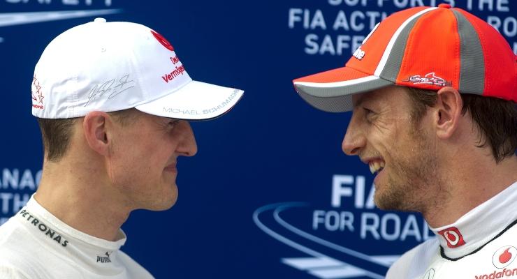 Schumacher e Button (Getty Images)