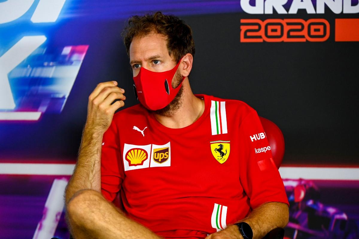 Sebastian Vettel, Ferrari in the press conference (Getty Images)