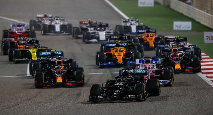 La partenza del Gran Premio del Bahrein di F1 2020 a Sakhir