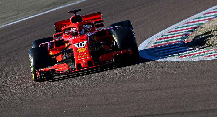 Charles Leclerc in pista nei test di Fiorano