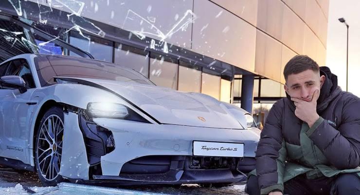 La Porsche Taycan Turbo S distrugge la vetrina del concessionario