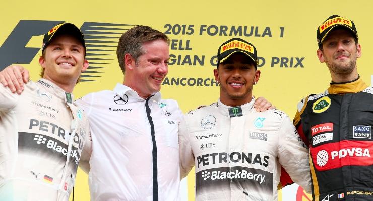 Rosberg, Hamilton e Grosjean (Getty Images)