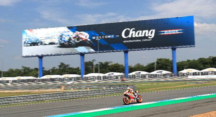Una fase di gara del Gran Premio di Thailandia di MotoGP a Buriram