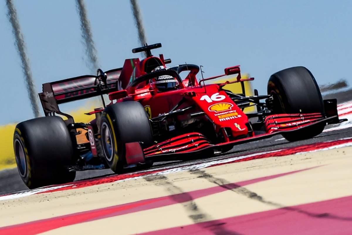 Charles Leclerc in pista nei test F1 di Sakhir, in Bahrain