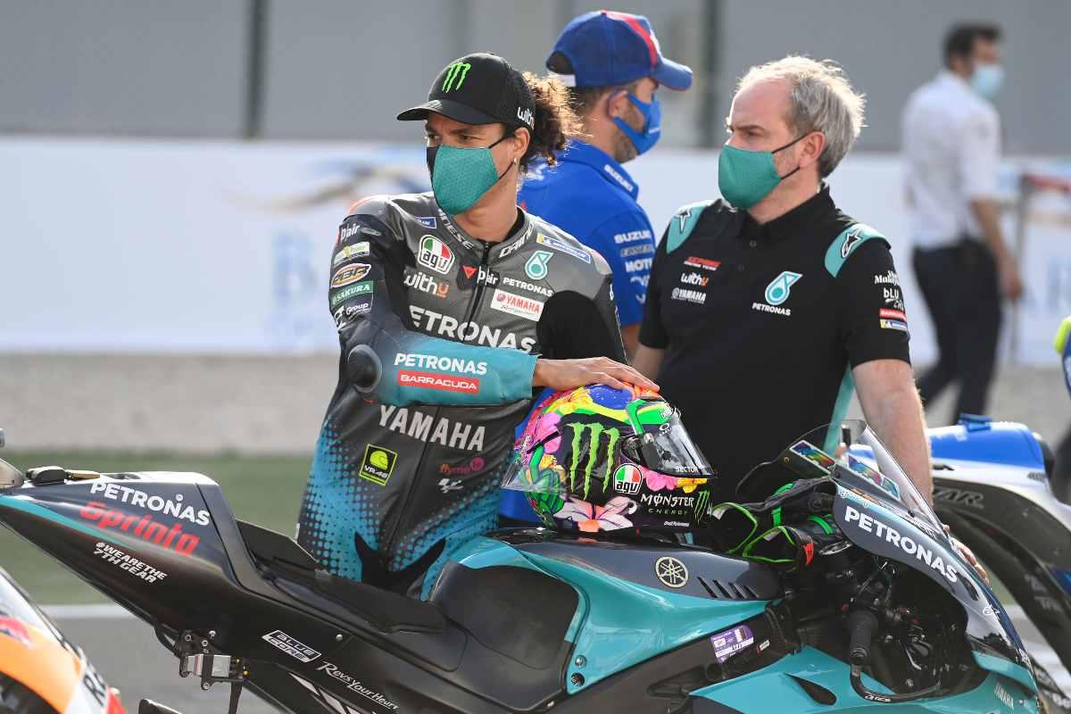 Franco Morbidelli con la sua Yamaha sul circuito di Losail, in Qatar