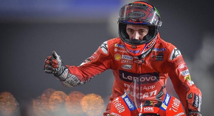 La Ducati di Pecco Bagnaia nel Gran Premio del Qatar di MotoGP 2021 a Losail