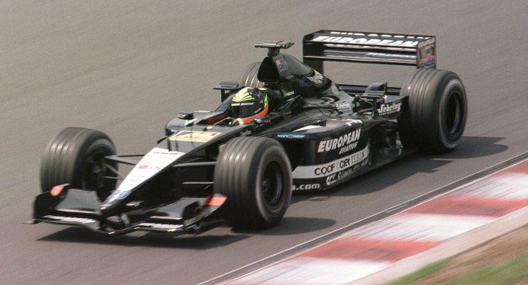 Tarso Marques in pista con la Minardi nel campionato del mondo di F1 2001