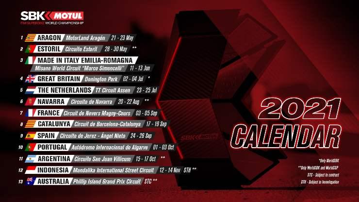 Calendario Superbike 2021