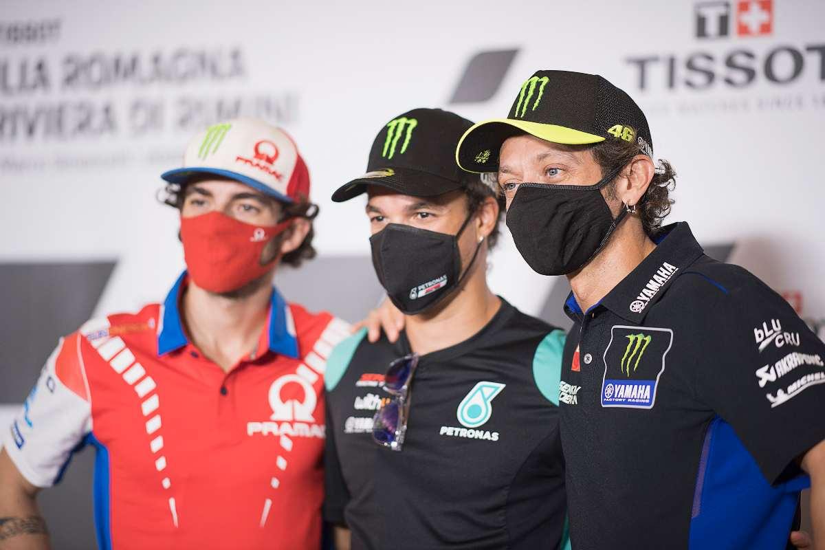 Francesco Bagnaia, Franco Morbidelli e Valentino Rossi (GettyImages)