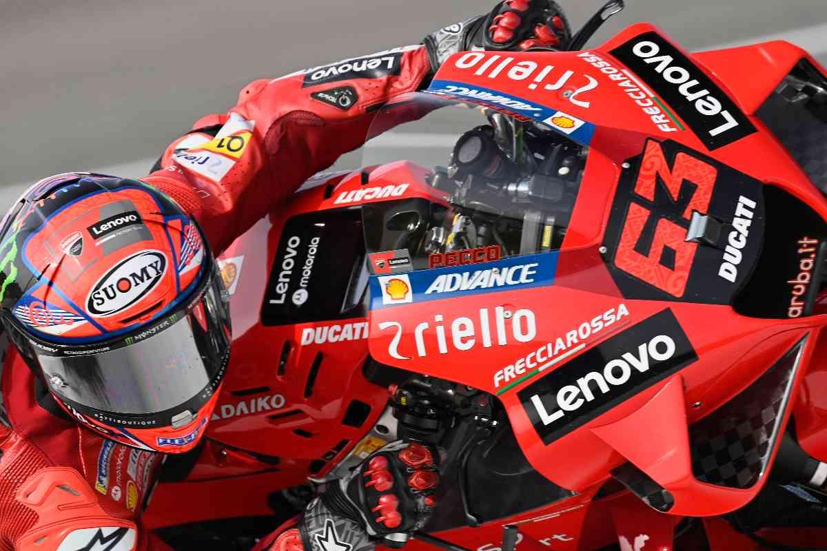 Pecco Bagnaia sulla Ducati nelle prove libere del Gran Premio di Spagna di MotoGP 2021 a Jerez