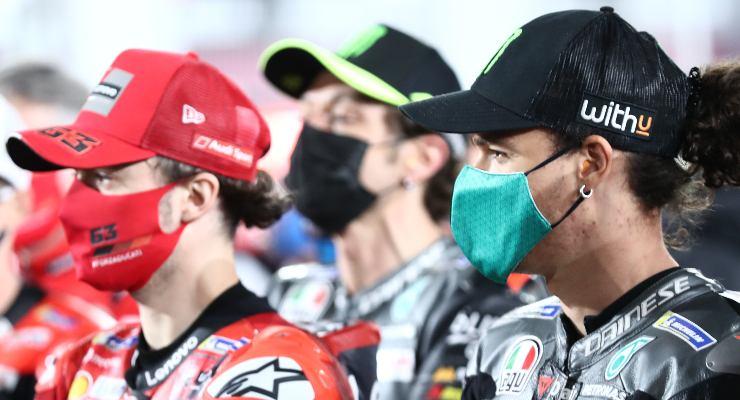 Tre dei piloti italiani in MotoGP: Pecco Bagnaia, Valentino Rossi e Franco Morbidelli