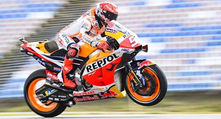 Marc Marquez in sella alla Honda nel Gran Premio del Portogallo di MotoGP 2021 a Portimao
