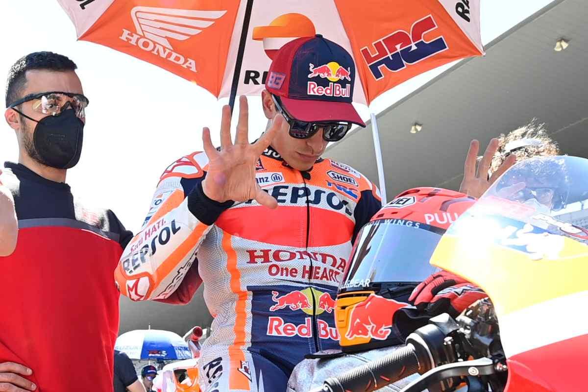 Marc Marquez sulla griglia di partenza del Gran Premio del Portogallo di MotoGP 2021 a Portimao