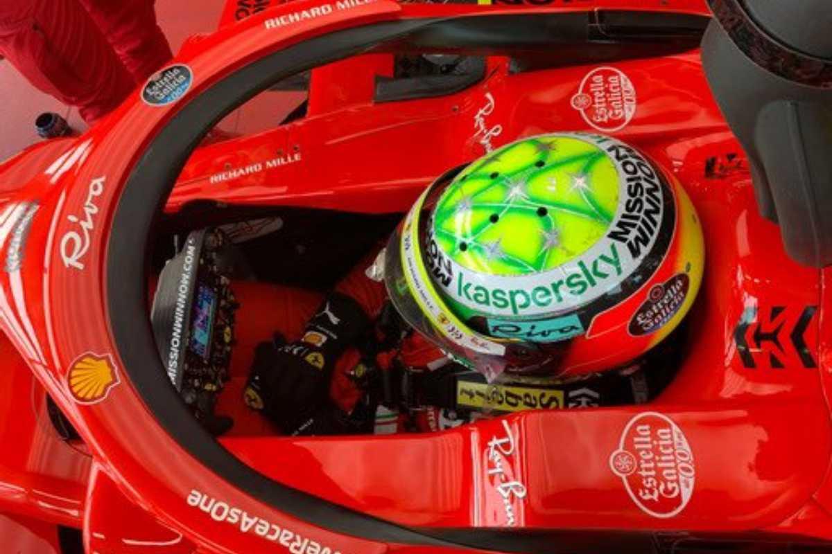 Mick Schumacher sulla Ferrari nei test di Fiorano
