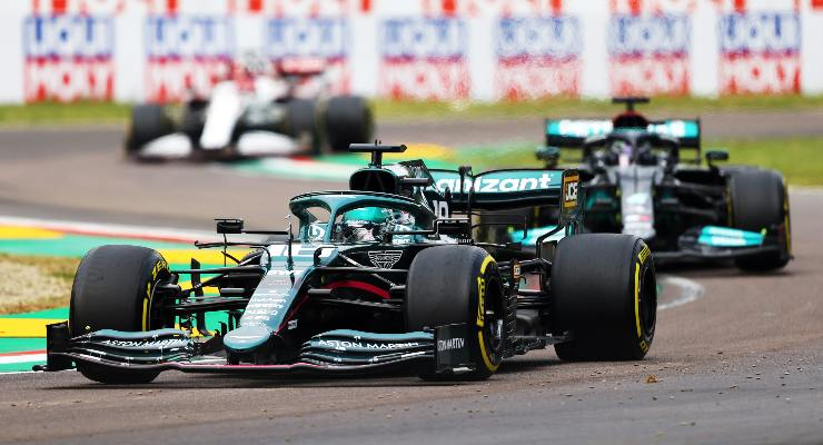 Lance Stroll in pista al Gran Premio dell'Emilia Romagna di F1 2021 a Imola