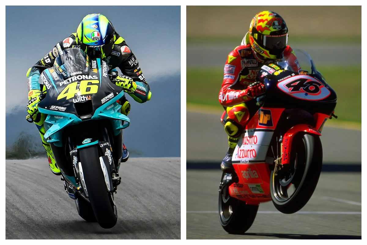 Il presente e il passato di Valentino Rossi: a sinistra la sua Yamaha del team Petronas, a destra la Aprilia in classe 250
