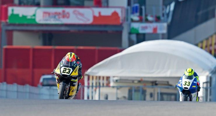 Una fase di gara del campionato italiano velocità di classe Moto3 al Mugello