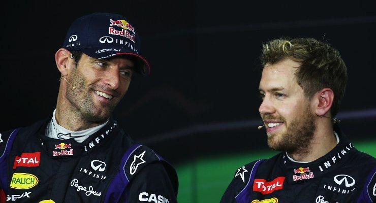 Mark Webber e Sebastian Vettel ai tempi in cui erano compagni di squadra