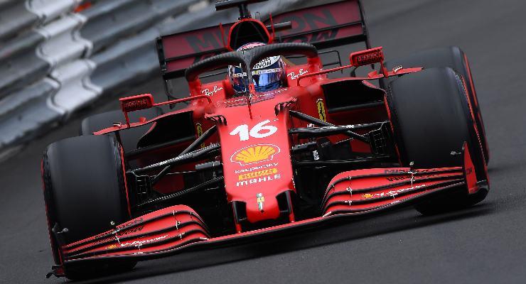 Charles Leclerc in pista al Gran Premio di Montecarlo di F1 2021 a Monaco