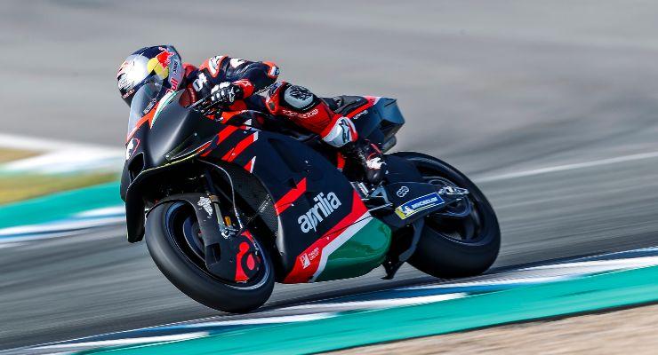 Andrea Dovizioso nel primo test con la RS-GP a Jerez