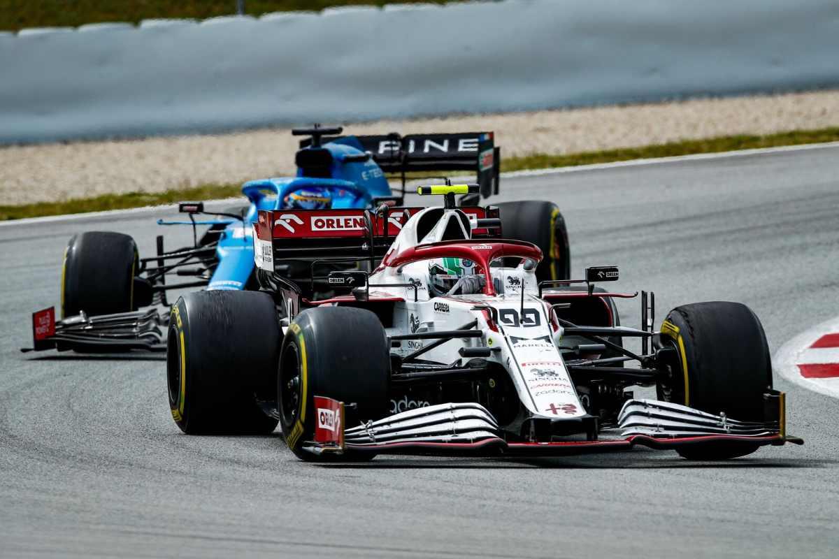 Antonio Giovinazzi in pista nel Gran Premio di Spagna di F1 2021 a Barcellona
