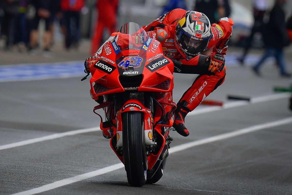 Jack Miller in pista sulla Ducati nel Gran Premio di Francia di MotoGP 2021 a Le Mans