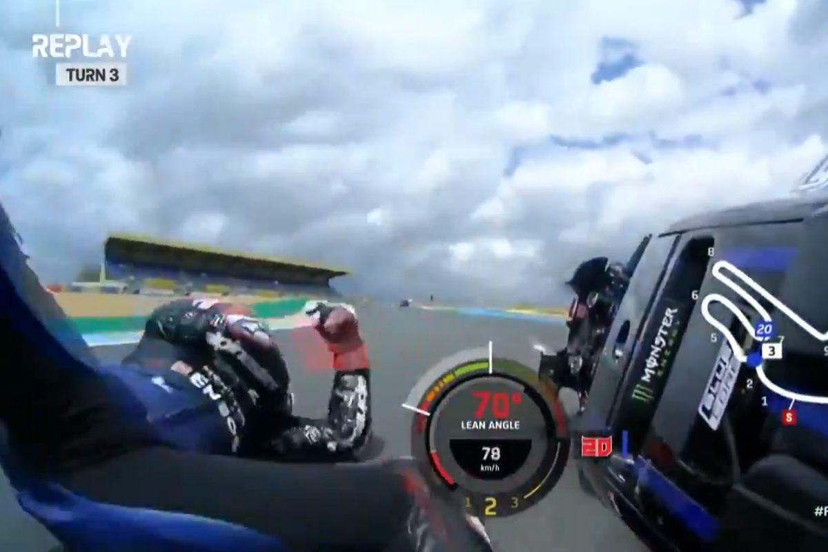 La caduta di Fabio Quartararo nelle prove libere del Gran Premio di Francia di MotoGP 2021 a Le Mans