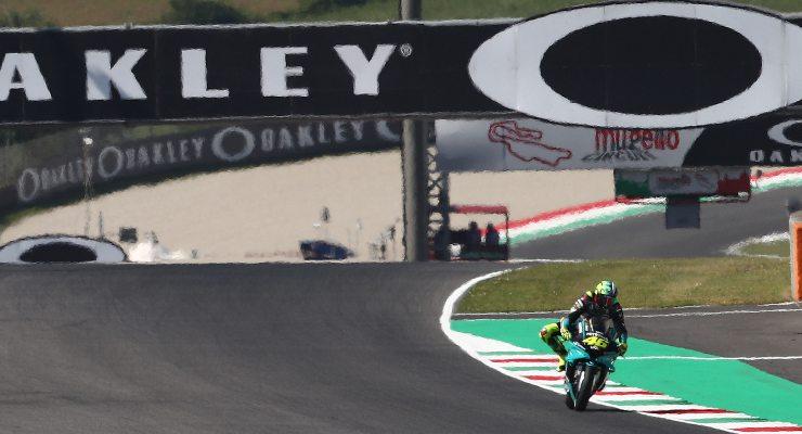 Valentino Rossi in pista sulla Yamaha nelle prove libere del Gran Premio d'Italia di MotoGP 2021 al Mugello