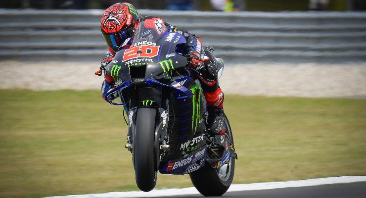 Fabio Quartararo in pista sulla Yamaha al Gran Premio d'Olanda di MotoGP 2021 ad Assen