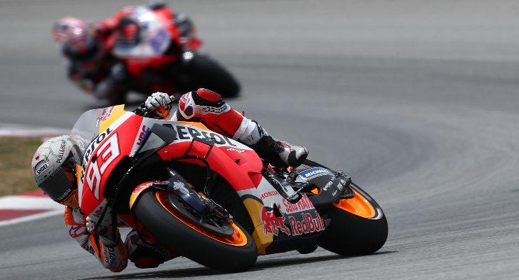 Marc Marquez in pista sulla Honda nelle prove libere del Gran Premio di Catalogna di MotoGP 2021 a Barcellona