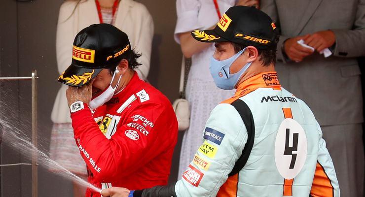 Carlos Sainz e Lando Norris sul podio del Gran Premio di Montecarlo di F1 2021 a Monaco