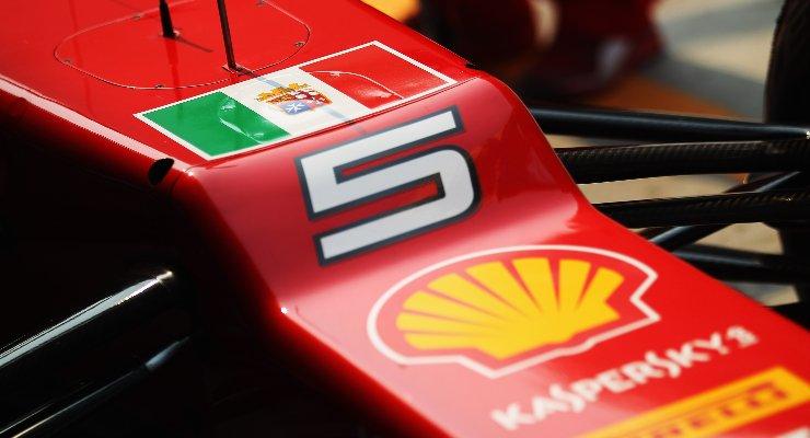 La bandiera italiana sulla Ferrari