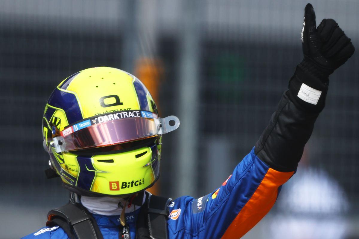 Lando Norris festeggia il secondo posto nelle qualifiche del Gran Premio d'Austria di F1 2021 al Red Bull Ring