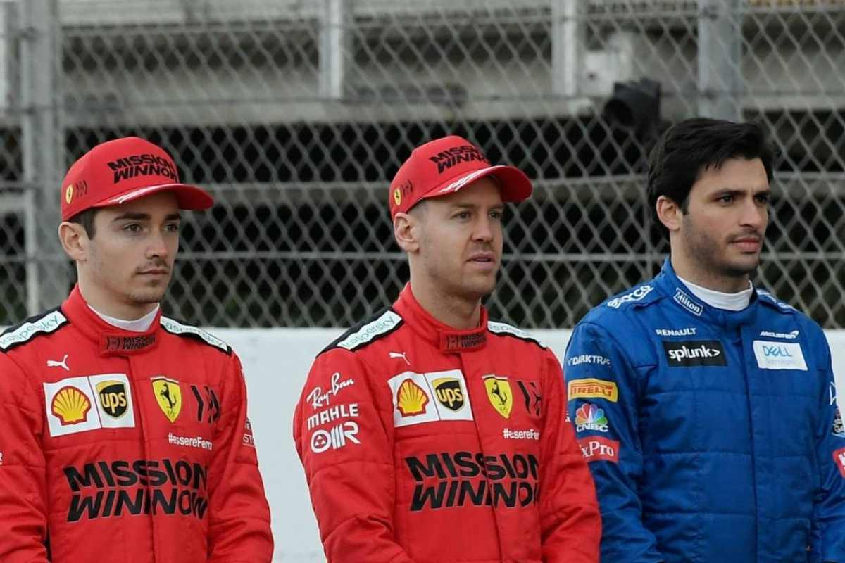 Charles Leclerc, Sebastian Vettel e Carlos Sainz