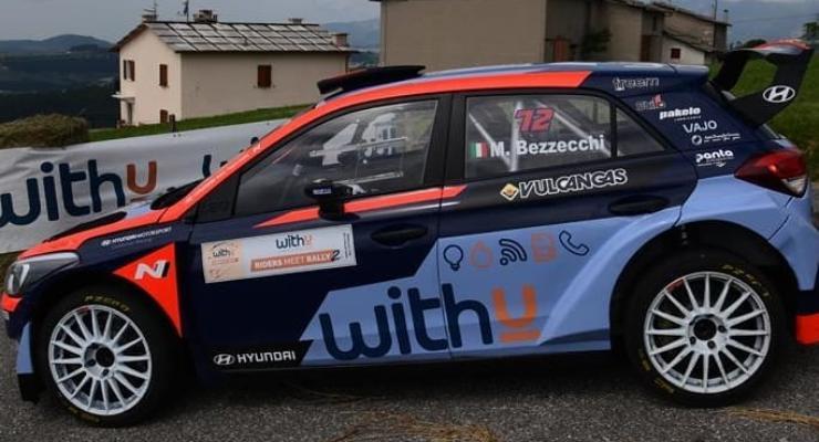 Marco Bezzecchi sulla Hyundai i20 da rally