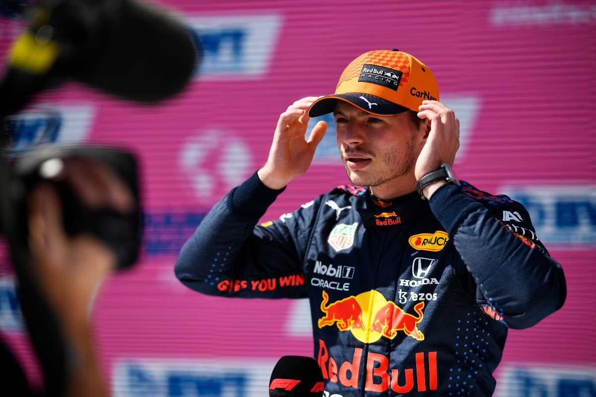 Max Verstappen dopo la pole position al Gran Premio d'Austria di F1 2021 al Red Bull Ring