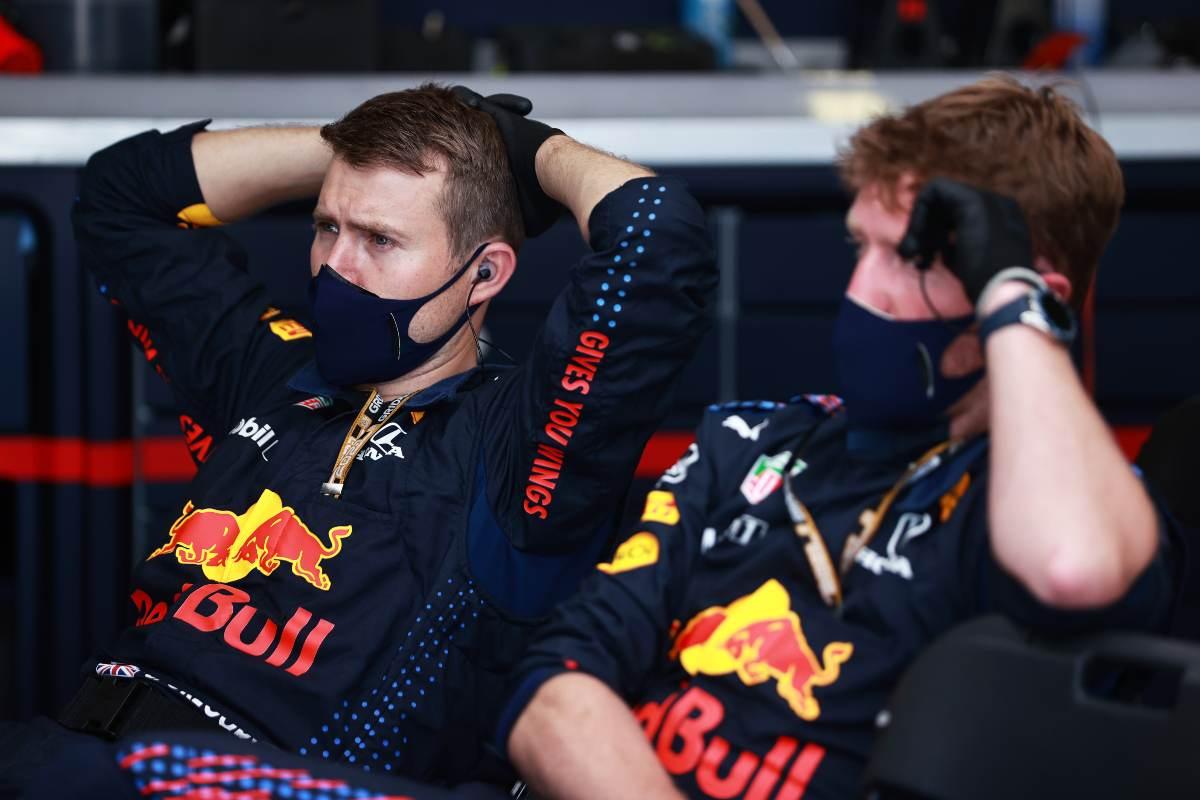 Il team Red Bull ai box al Gran Premio di Gran Bretagna di F1 2021 a Silverstone