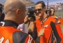 Michael Schumacher con Randy Mamola al Gran Premio d'Italia di MotoGP 2006 al Mugello