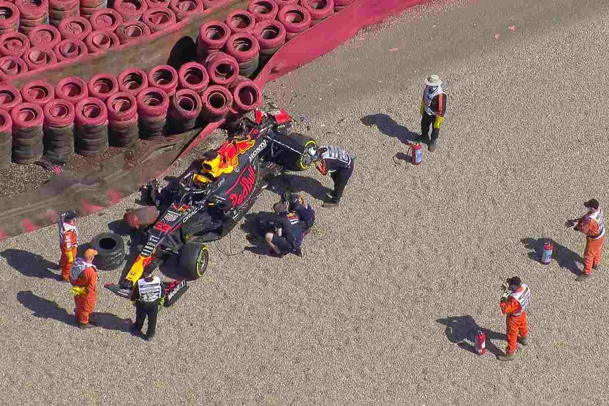 Max Verstappen dopo l'incidente con Lewis Hamilton al Gran Premio di Gran Bretagna di F1 2021 a Silverstone