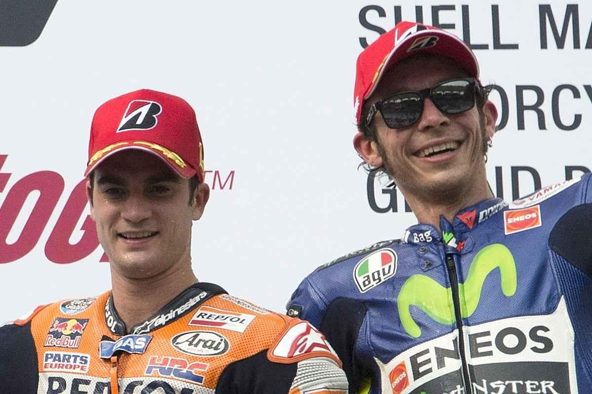 Dani Pedrosa e Valentino Rossi sul podio nel 2015
