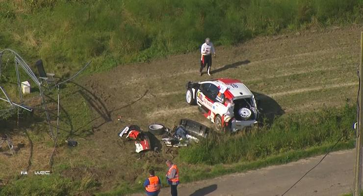 La Toyota Yaris di Takamoto Katsuta dopo l'incidente al Rally del Belgio